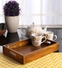 Furnicheer Yellow Mango Wood Small Rectangular Tray