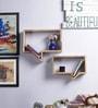 Furniselan Brown Mango Wood Wall Shelf