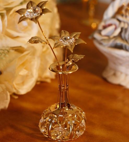 Buy G N G 24k Gold Plated With Swarovski Crystals Flower Vase