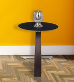 Galaxy End Table with Black Glass in Rosewood Finish