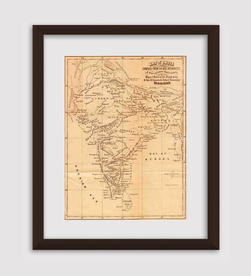 Buy gabambo paper 12 x 1 x 145 inch vintage india map wooden framed gabambo paper 12 x 1 x 145 inch vintage india map wooden framed poster gumiabroncs Gallery