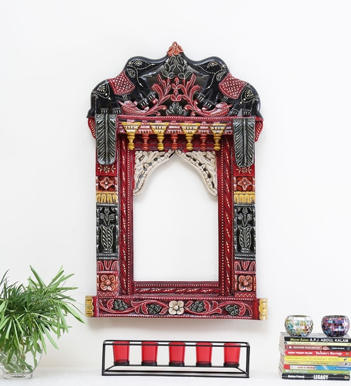 Buy Gajraj Solid Wood Hand Painted Jharokha In Multicolour By