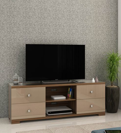 6564f4234 Buy Galaxy TV Unit in Walnut Bronze Melamine Finish by Spacewood ...