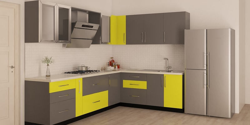 Buy Spacewood L Shape Kitchen In Ply Acrylic Finish In Brown Color