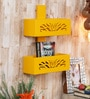 Yellow Engineered Wood Magazine Rack by Home Sparkle