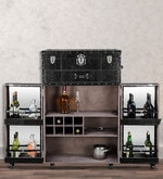 Genuine Leather Bar Cabinet in Black Colour