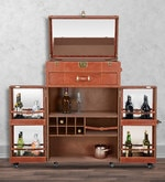 Genuine Leather Bar Cabinet in Brown Colour