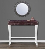 Genuine Leather Console Table in Dark Brown Colour