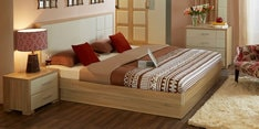 Geo King Bed with Hydraulic Storage in Beige & Cream Colour