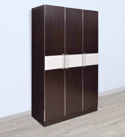 Geneva Three Door Wardrobe in Black u0026 White Colour by Royal Oak & Buy Geneva Three Door Wardrobe in Black u0026 White Colour by Royal ... pezcame.com