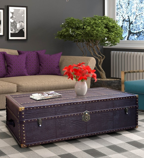 Outstanding Genuine Leather Vintage Trunk Coffee Table By Studio Ochre Interior Design Ideas Gentotthenellocom