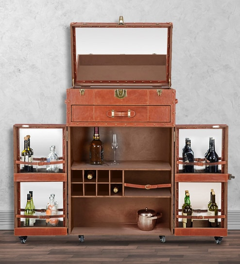 Buy Genuine Leather Bar Cabinet In Brown Colour By Studio Ochre
