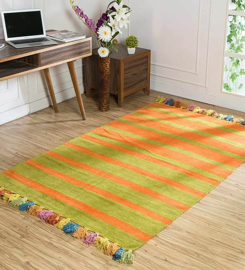 Geometric Pattern Chenille 4x6 Feet Hand Woven Flat Carpet By Jaipur Rugs