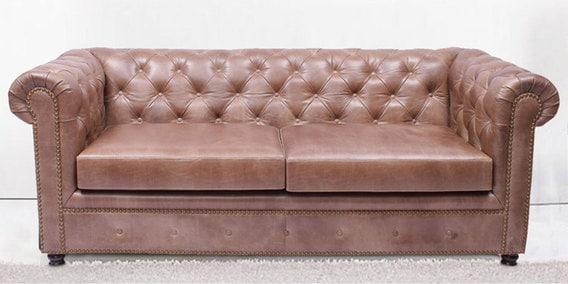 Gentlemans Club Three Seater Sofa In Vintage Cedar Genuine Leather By Studio Ochre