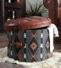 Genuine Leather traditional textile Round pouffe brown By Studio Ochre