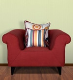 Gilberto One Seater Sofa with Cushions in Burnt Sienna Colour