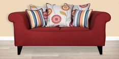 Gilberto Two Seater Sofa with Cushions in Burnt Sienna Colour