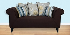 Gilberto Two Seater Sofa with Cushions in Chestnut Brown Colour