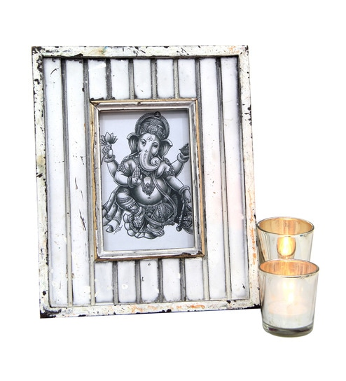 Giftsbymeeta White Tealight Holders and Photo Frame Gift Combo by ...