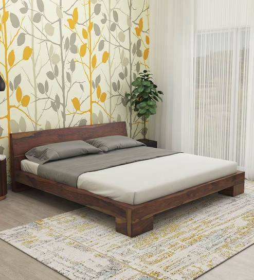 Gilliane Solid Wood King Size Bed In Provincial Teak Finish By Woodsworth