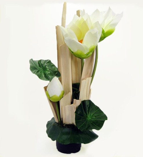Buy Ginni Bloom White Pvc And Synthetic Lotus Flower Vase Online