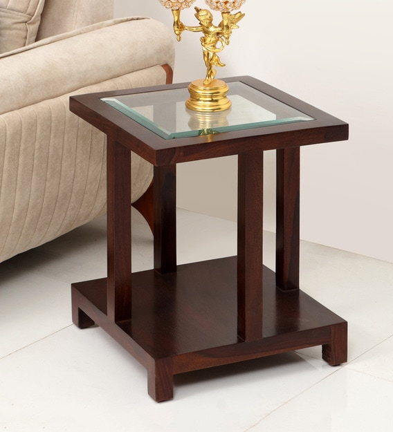 Buy Gibson Solidwood Glass Top End Table By Evok Online Contemporary End Tables Tables Furniture Pepperfry Product