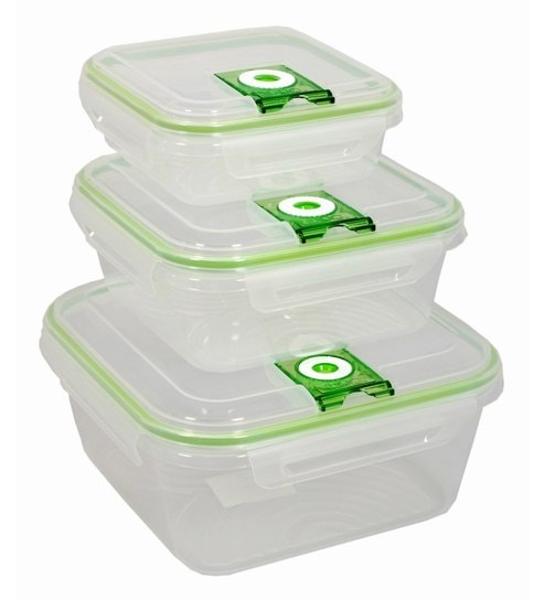 Gkw Green Polypropylene Food Storage Containers - Set Of 3