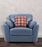Glassgow Heaven One Seater Sofa with Throw Cushions in Blue Colour