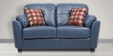 Glassgow Heaven Two Seater Sofa with Throw Cushions in Blue Colour