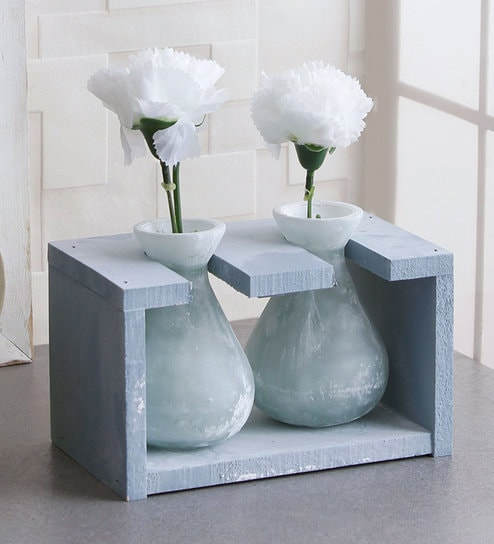 Buy Blue Glass Vase In A Wooden Frame By Fourwalls Online Table Vases Vases Home Decor Pepperfry Product