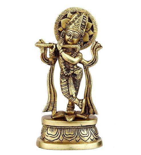 Glossy Brass India Made Hand Carved Small Miniature Hindu God Lord Krishna  Statue Idol by Statue Studio