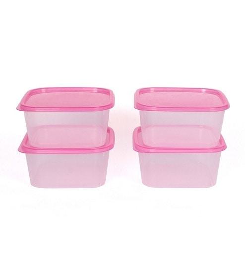 Gluman Sigma Pink Plastic Kitchen Storage Container Set 4 Pieces