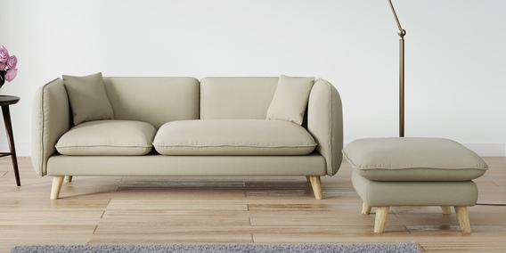 Buy Gloria Three Seater Sofa With Ottoman In Beige Colour By