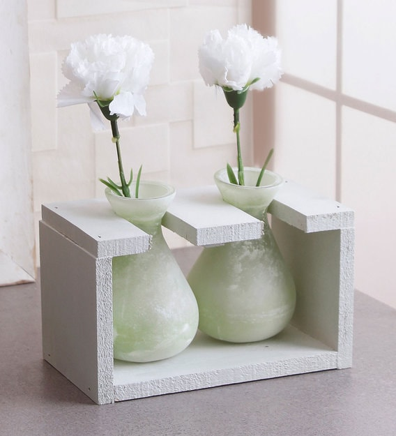 Buy Green Glass Vase In A Wooden Frame By Fourwalls Online Modern And Contemporary Vases Vases Home Decor Pepperfry Product