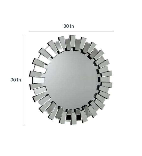 Glass Round Wall Mirror In Silver, Venetian Large Round Silver Wall Mirror