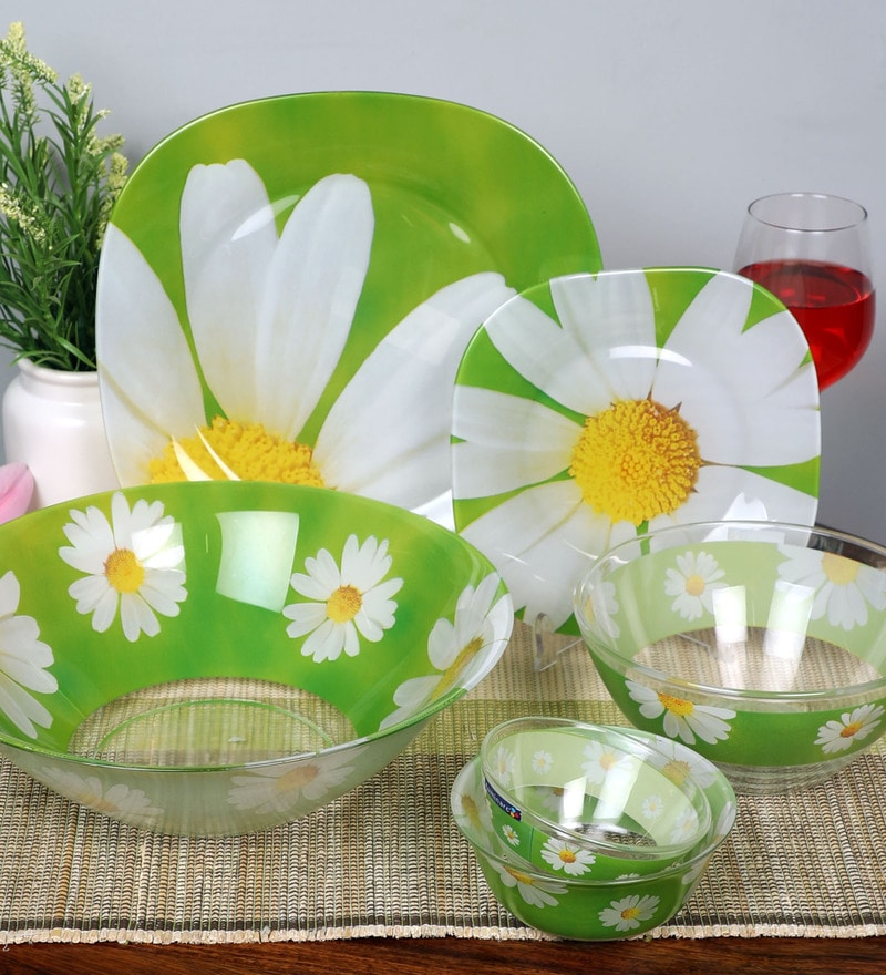 Buy Glass Dinner Set - Set of 33 Online - Glass Dinner ...