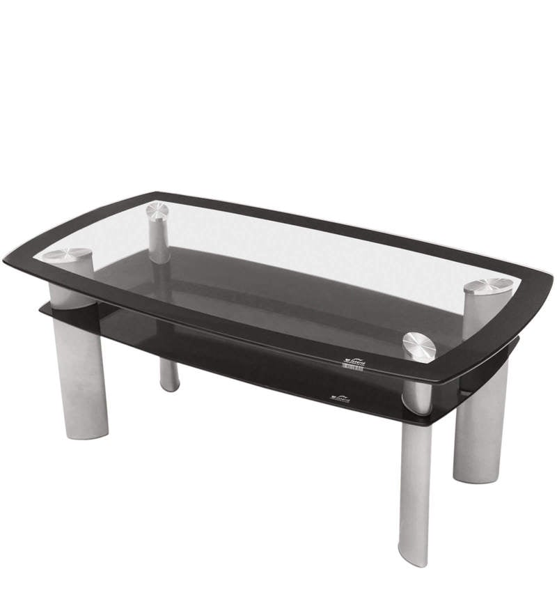 Buy Glaze Rectangular Coffee Table In Silver Colour By