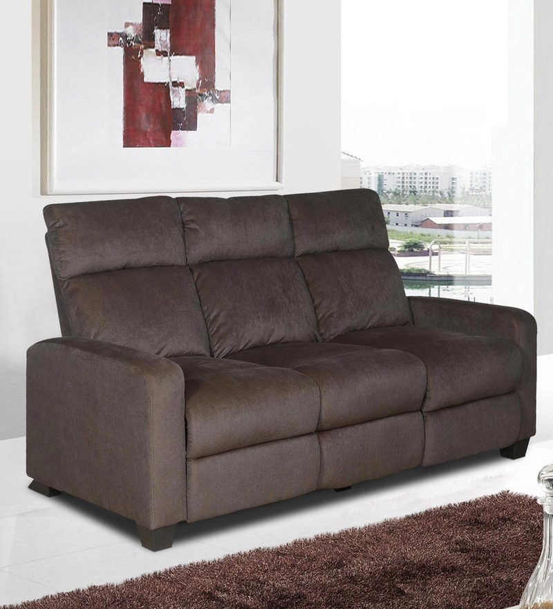 Gloria Three Seater Sofa with Two Manual Recliners in Chocolate Brown Colour by @Home : denver recliner - islam-shia.org