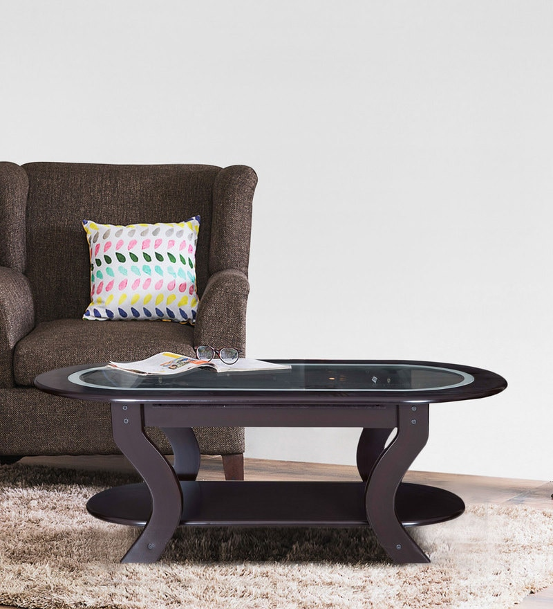 Glory Center Table with Glass Top in Dark Brown Colour by Karigar