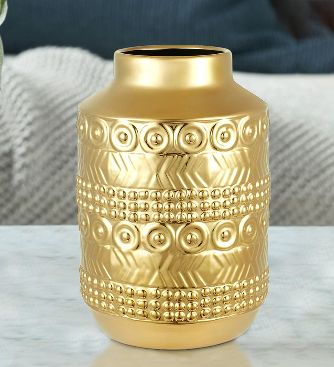 Buy Gold Blake Egyptian Cylinder Small Ceramic Vase By Hometown Online Table Vases Vases Home Decor Pepperfry Product