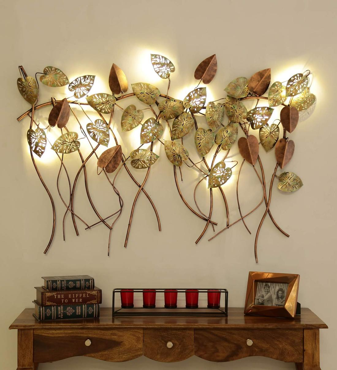 Buy Wrought Iron Hanging Leaf In Golden With Led Wall Art By Malik Design Online Floral Metal Art Metal Wall Art Home Decor Pepperfry Product