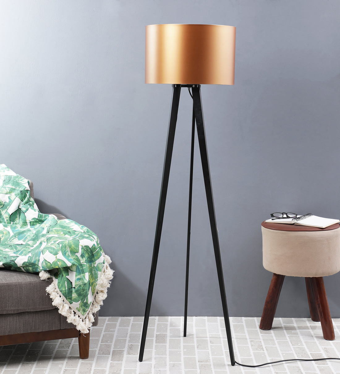 Buy Scarlet Gold Metal Shade Tripod Floor Lamp With Black Base By Casacraft Online Modern And Contemporary Floor Lamps Floor Lamps Lamps Lighting Pepperfry Product