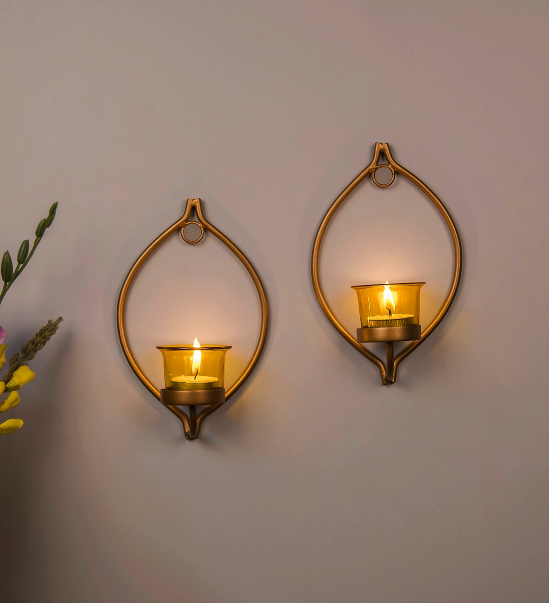 Buy Gold Metal Decorative Drop Wall Candle Holder With Glass And Free T Light Candles Set Of 2 By Homesake Online Wall Tea Light Holder Festive Lights Lamps Lighting Pepperfry Product
