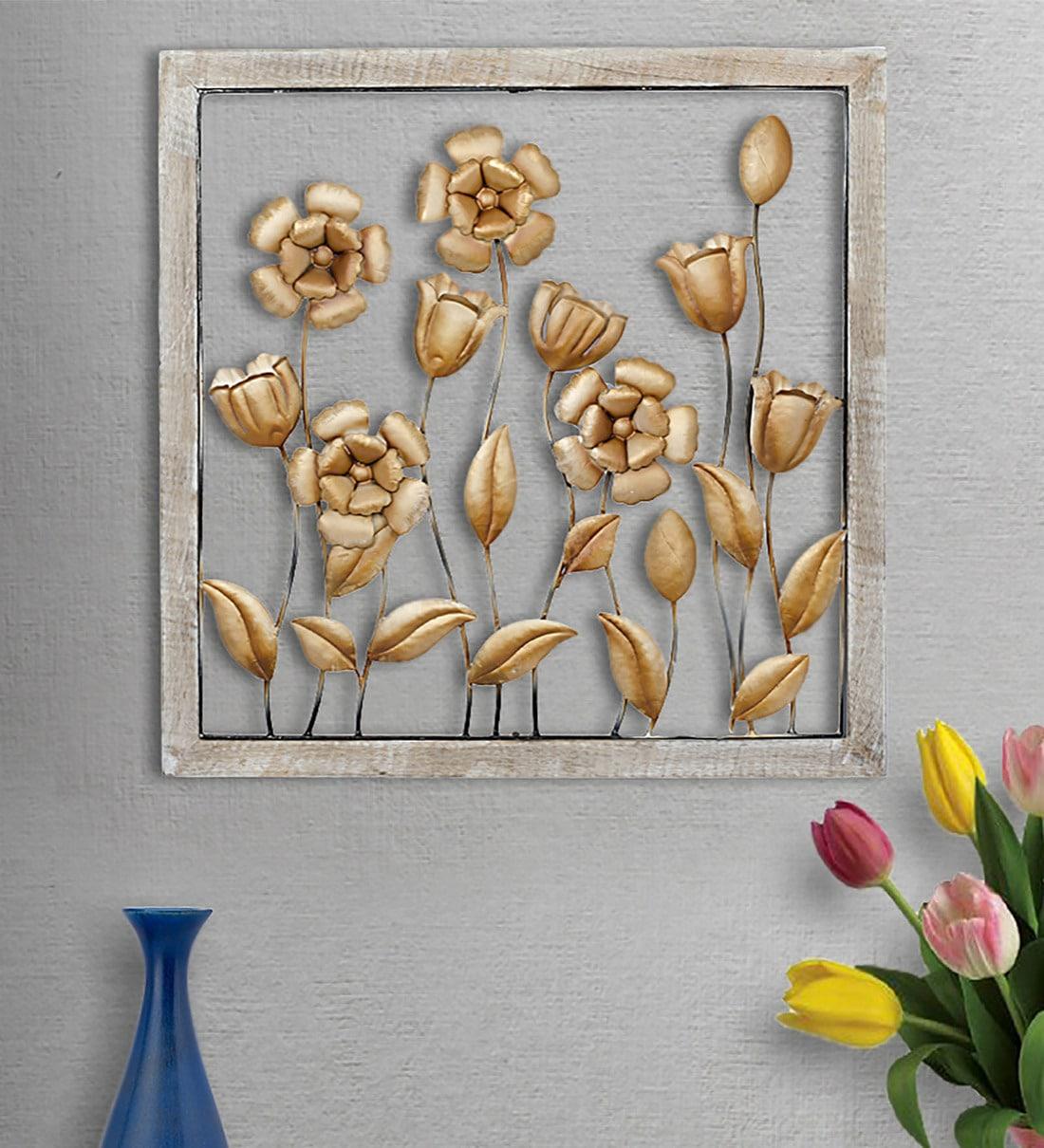 Buy Gold Metal Flower Wall Decor