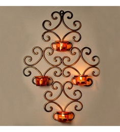 Gold & Orange Metal & Glass Wall Scone With 4 Tea Light Holders - Set Of 5