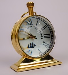 Gold Brass 2.4 X 1.2 X 3.1 Inch Vintage Trophy Desk Clock