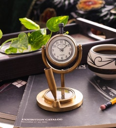 Gold Brass Table Clock With Pen Holder And Compass