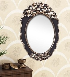 Golden Black Engineered Wood Wall Mirror By Home Sparkle - 1621384