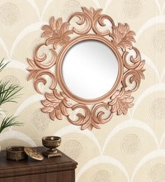 Golden Engineered Wood Wall Mirror By Home Sparkle - 1621386