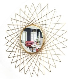 Golden Glass And Metal Makura Wall Mirror